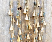 Bells on string, Rustic Windchime, Farmhouse Door Hanger, Vintage Cow Bell, Boho, Ethnic, Bohemian, feng shui doorhanger, wall hanging Nepal
