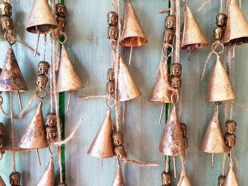 cow bell door hanger meditation zen yoga Buddha Windchime bells Mobile Buddha wall art bells on string brass Bells Vintage rustic