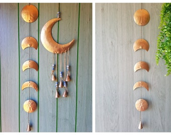 Gold Moon Phase Wall Hanging, Recycled metal wall decor, full half waning waxing crescent moon Wall Art, bronze brass gold chain mobile bell