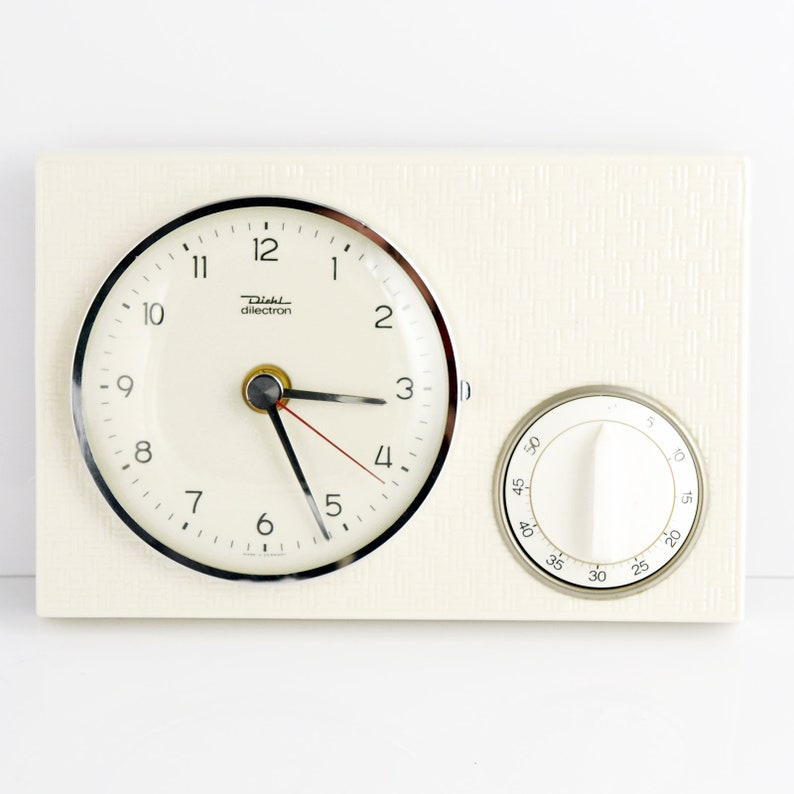 Cool Ceramic Kitchen Clock With A Timer By Diehl Germany 60S Home Interior And Landscaping Synyenasavecom