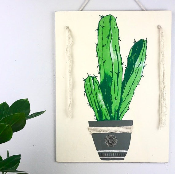 Wooden table handpainted a cactus. Boho decor, exotic and trendy.
