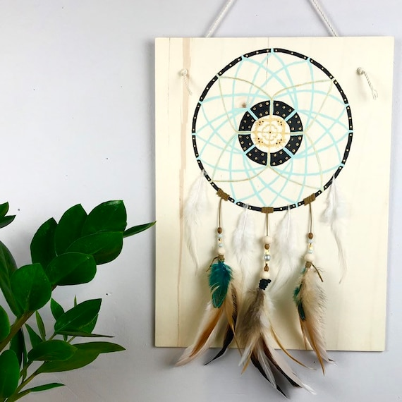 Painting - Wall decor - painted table - table Dreamcatcher - gift - Dreamcatcher - painting - Woods - French