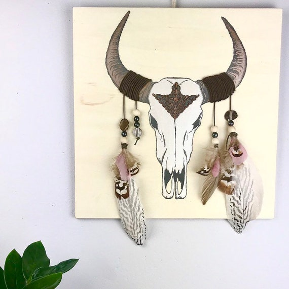 Painting - Wall decor - painted table - table - gift - Buffalo head - painting - Woods - French Buffalo head