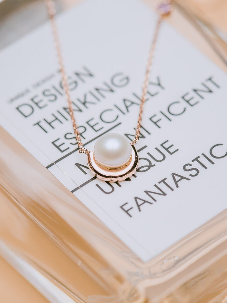 HIWNESS The Dewdrops Necklace 14K Solid Rose Gold minimalist Pearl NecklaceDainty Pearl necklace with pink sapphire
