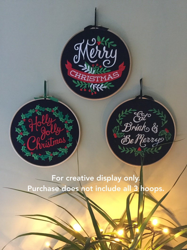 Eat drink and be merry embroidered hoop art Christmas hanging wall door decoration Christmas slogan wall art embroidered Christmas wreath