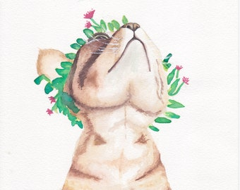 Watercolor Cat 9X6