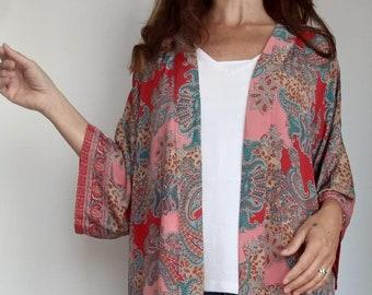 Smoke Kimono Jacket  Vintage Silky Dove Grey Bell Sleeve Japanese Brocade Asian Cardigan Short Floral Bedroom Jacket Flowing Cardigan