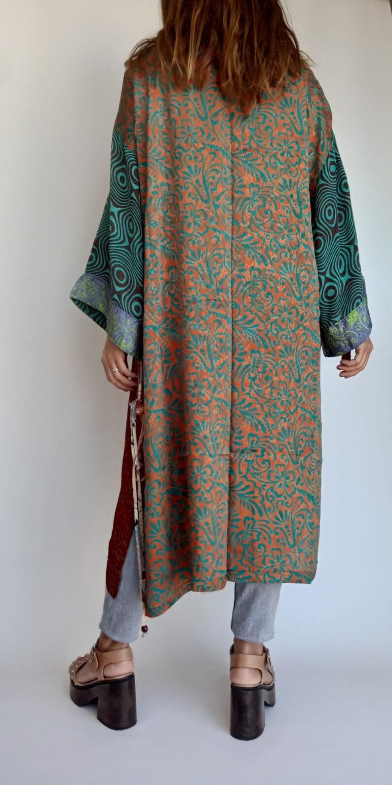 Imperfect Piece. Patchwork Silk Robe Kimono Jacket Boho Kimono Robe