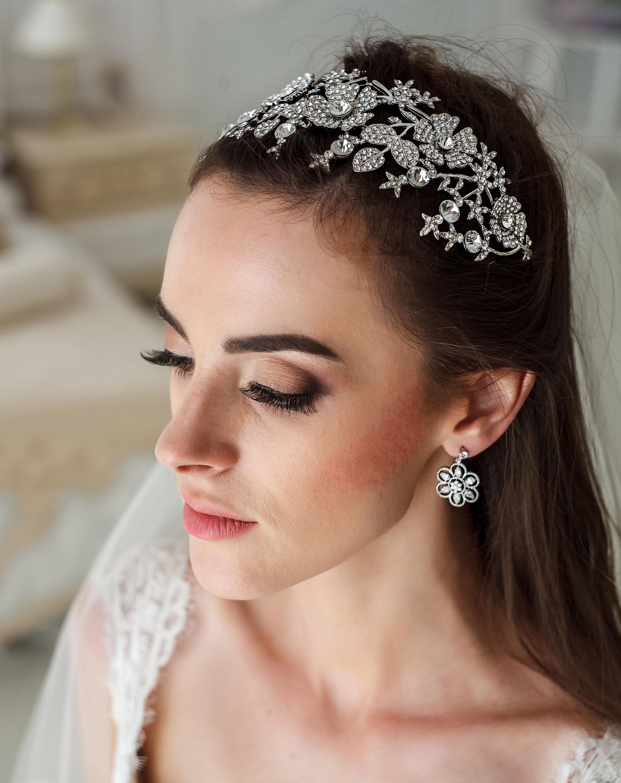 Wedding flower tiara bridal diadem wedding crown swarovski etsy zoom izmirmasajfo