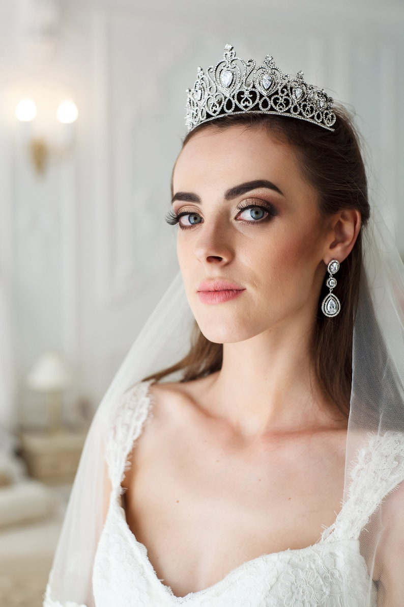 Hochzeit Diadem Tiara Zirkonia Kristall Diadem Swarovski Etsy