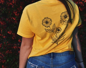 Hand Drawn Daisies and Butterflies T-shirt
