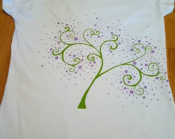 Hand painted, unique, green and purple Blossom Tree, festival, summer t shirt