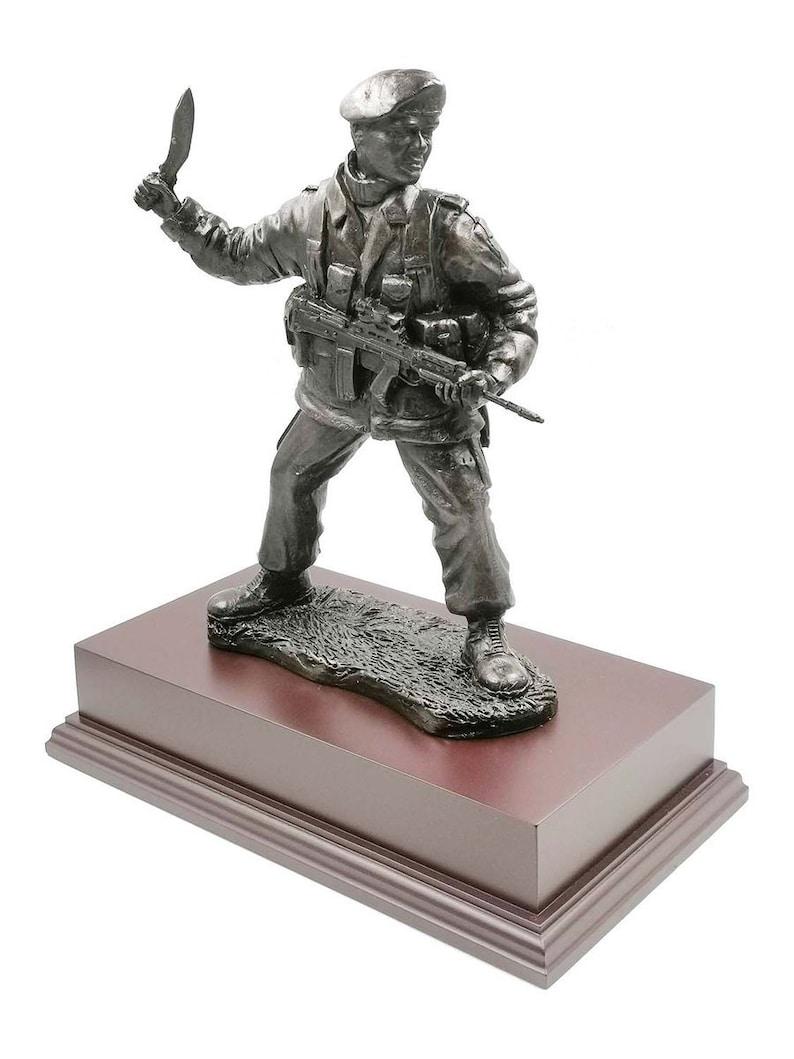 Gurkha British Soldier with SA80 and Machete Cold Cast Bronze Figurine