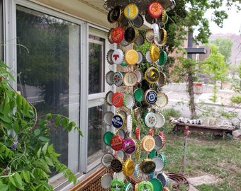 Recycled beer cap wind chime