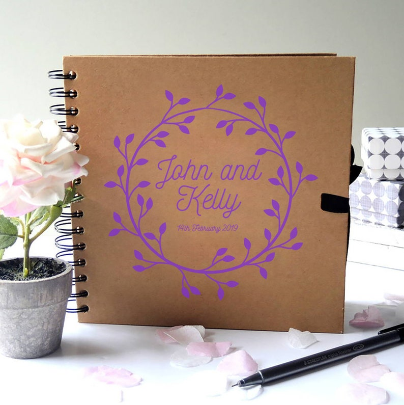 Personalised Wreath Design Spiral bound Hard back Guest book 8x8Wreath Design NEW COLOURS