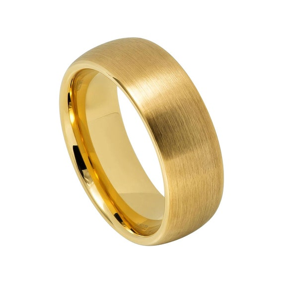 Yellow Gold Ring Mens Wedding Band 8mm Engagement Band Tungsten Carbide Brushed 18k Yellow Gold Wedding Band Man Classic Domed Ring