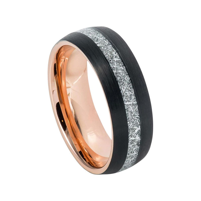 Meteorite Ring Mens Wedding Band 8mm Engagement Band Black And Rose Gold Tungsten Carbide Brushed 18k Rose Gold Wedding Band Black Ring