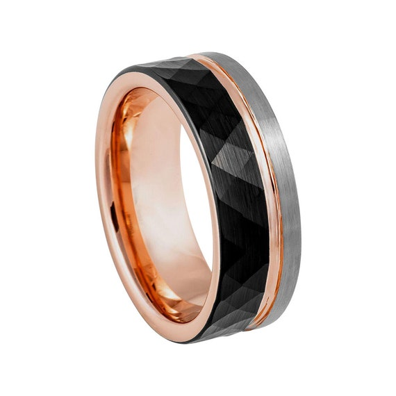Faceted Ring Mens Wedding Band 8mm Wedding Band Brushed silver Rose-gold Ring Silver Tungsten Ring Mens Ring Silver and Rose Gold Ring