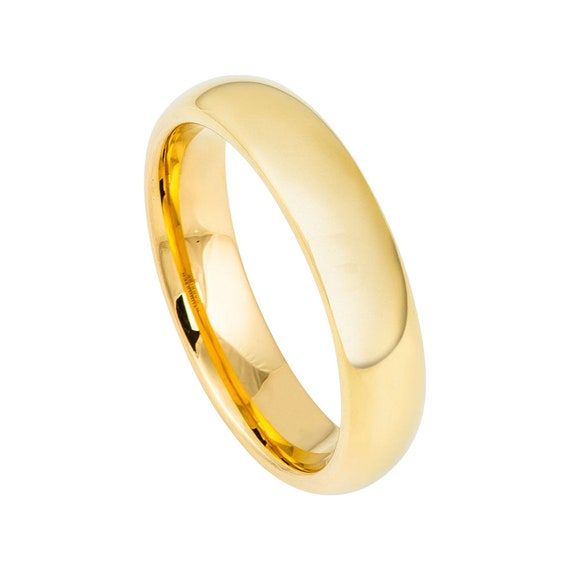 Tungsten Wedding Band 18k Yellow Gold Ring Mens Wedding Band 5mm Engagement Ring Polished 18k Yellow Gold Tungsten Band Classic Domed Ring