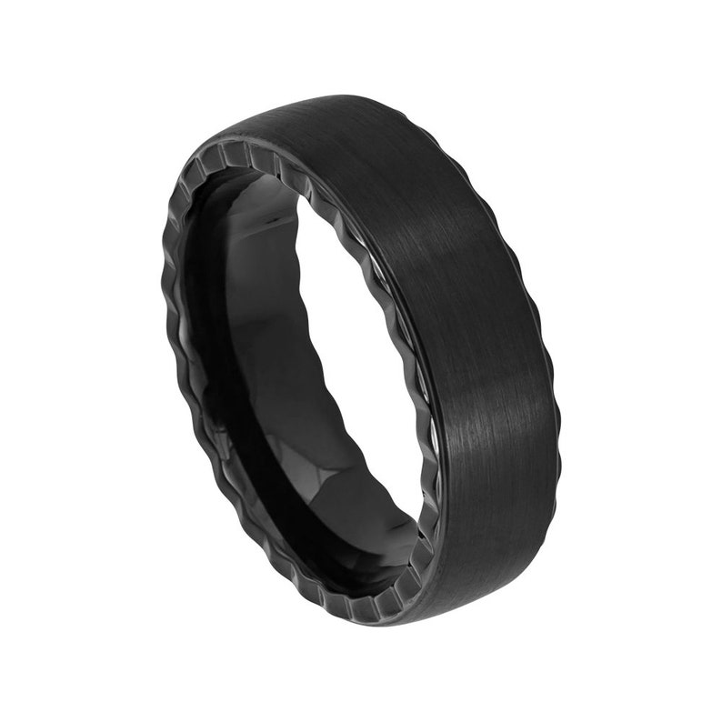 Black Ring Mens Wedding Band 7mm Engagement Band Brushed Black Tungsten Carbide Man Wedding Ring Black Pipe Cut Wedding Band Grooved Edges