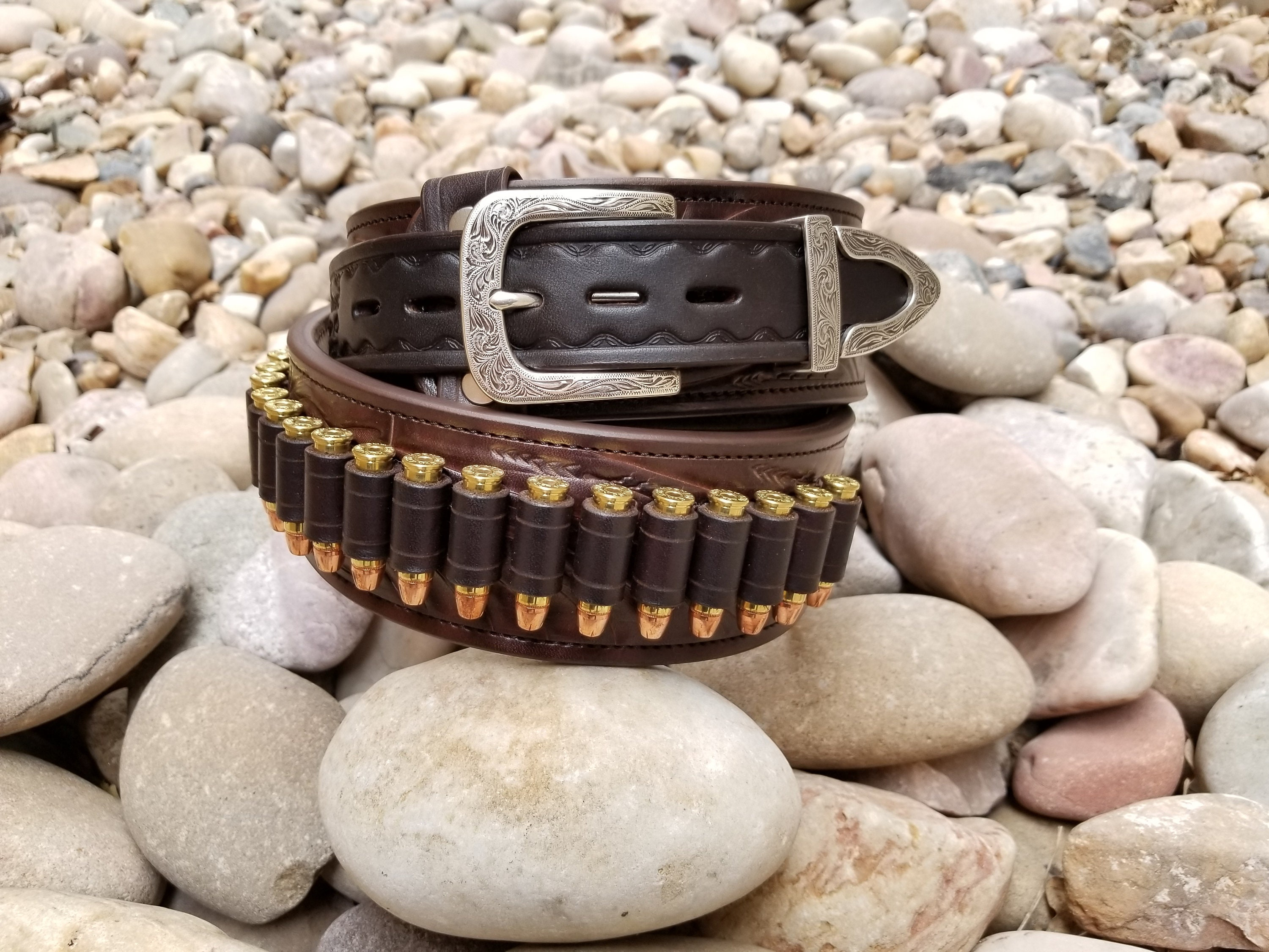 clearwater ranger gun belt - western hand tooled leather cartridge belt