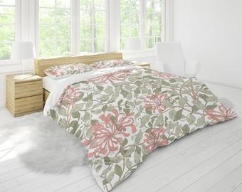 William Morris Duvet Cover Bedding Set   Pure Organic Cotton Sateen Bed Sheets & Pillow Shams   Mulberry Silk Pillows   Botanical Bedding