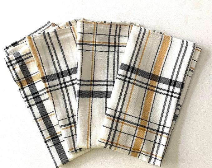 Halloween- fall plaid napkins| Black and mustard stripes over a cream background| Fun| Elegant| Cotton-Linen blend| Thanksgiving | Autumn.