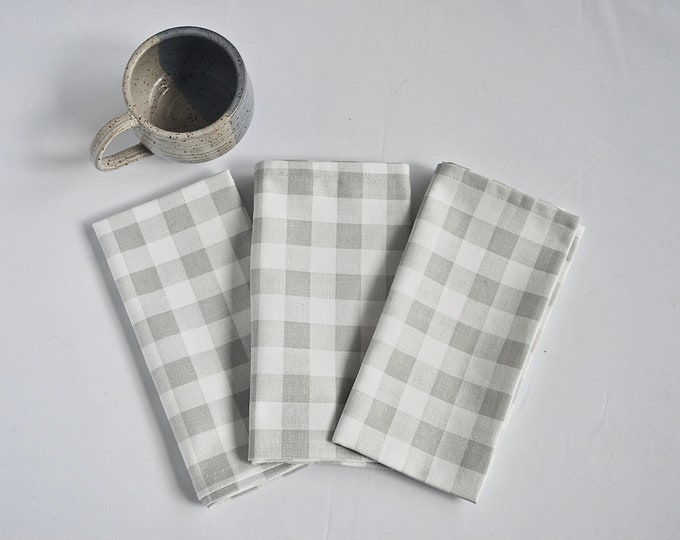 White and Gray check napkins|Buffalo Gingham Check Napkins|Set of Two| Farm table|Table linens|Country|Spring|summer|Gift