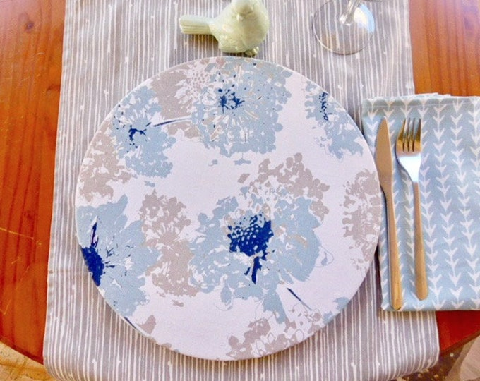 "Blue and white Morning Frost  fabric Charger Plate Cover|13""diameter