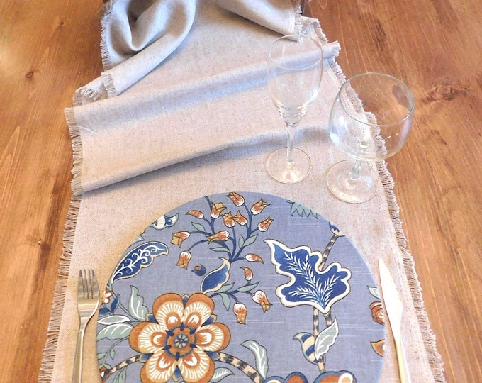 Fall Blue Forest Charger Plate Cover 100% cotton Floral print fabric Washable table setting parties weddings farm table Spring Summer Gift