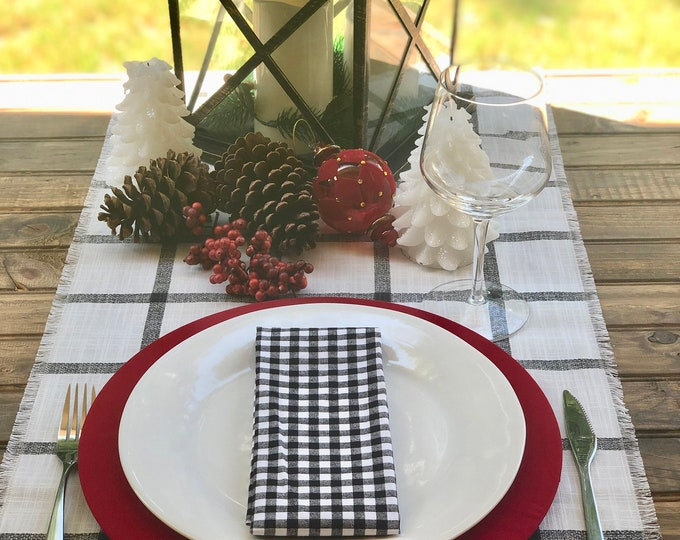 Christmas Cream and Black plaid table runner with fringes 1/2"