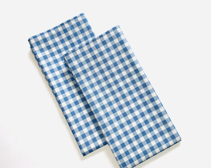 "Gingham napkins White and Blue|100% cotton| Set of Two| 17"" x 17""