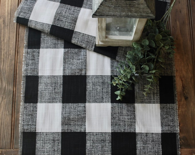 Elegant Black and White Buffalo Check Table runner| Plaid | Cotton| Year round table decor| Gift |Farmhouse| Custom orders Available