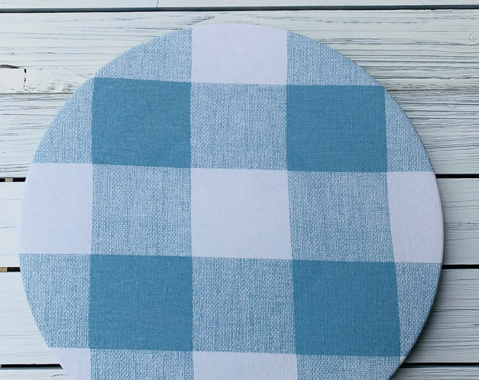 Baby blue Charger plate cover| Plaid| Cotton| Set of Two| Blue and WhiteTable Decor| Easter| Spring| Baby Shower| Custom Orders| Washable