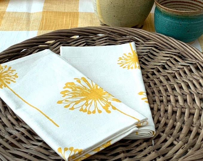 "Featured listing image: Yellow Dandelion dinner Napkins| Cotton Linen blend|17"" x 17""