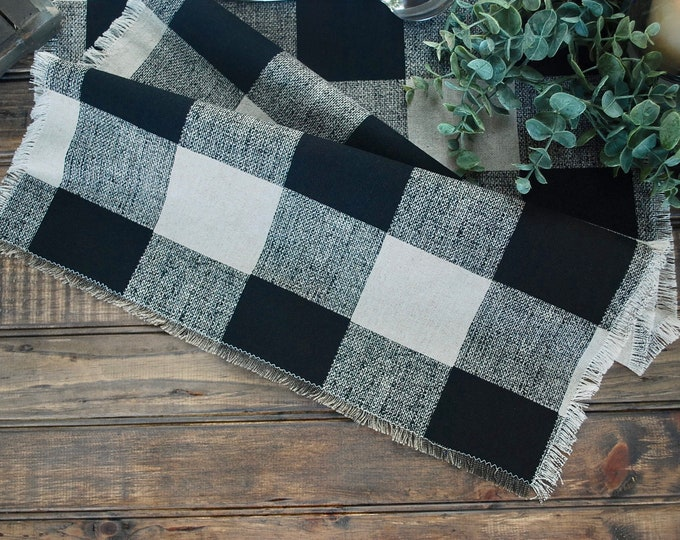 Buffalo Check Beige and Black Table Runner| Fringes|Country and Elegant|Farm table|Warm and Rustic look|Farmhouse|Custom orders available.