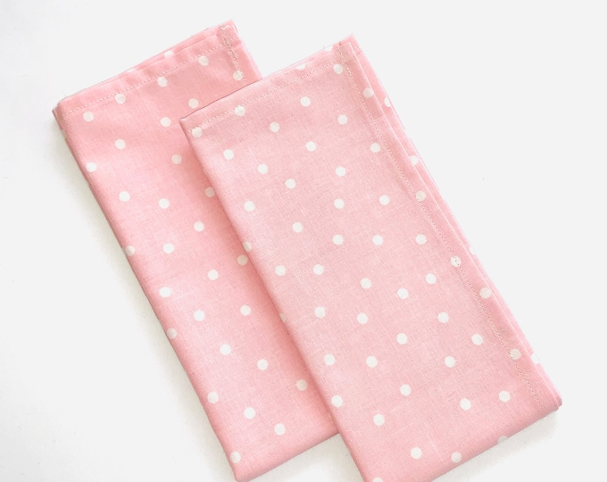 "Pink Polka Dot cotton fabric napkins| 17"" x 17"" 