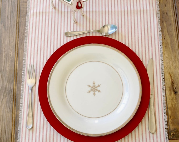 Modern Christmas| Red and White Stripes Table Runner|Christmas table Top|Holiday table top|Farm table|Across table runner