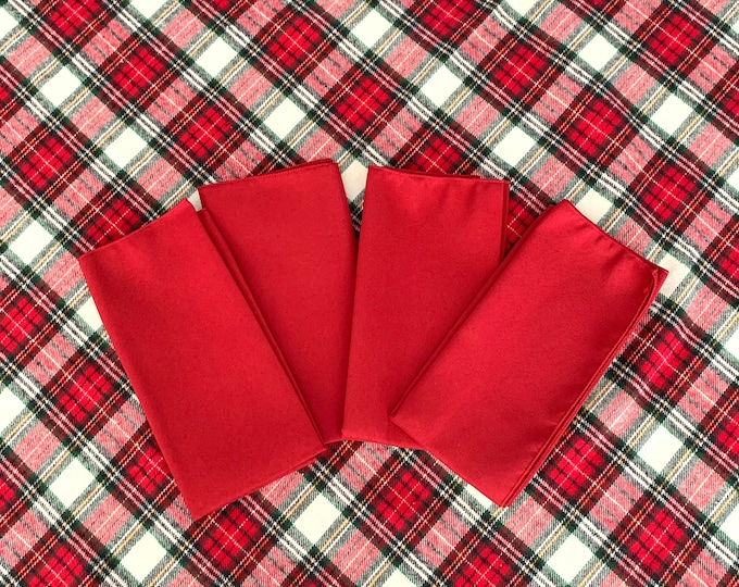 "Christmas Red Polyester Napkins| 17"" x 17""