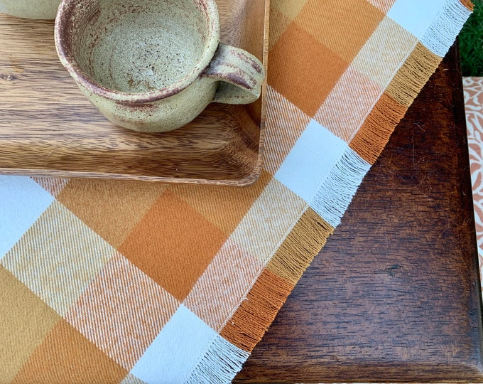 Autumn table throw|  Mustard, Orange, white |Fringes |Spice and Harvest colors|Fall Decoration|Cozy| Coffee table| Warm|Farmhouse decor