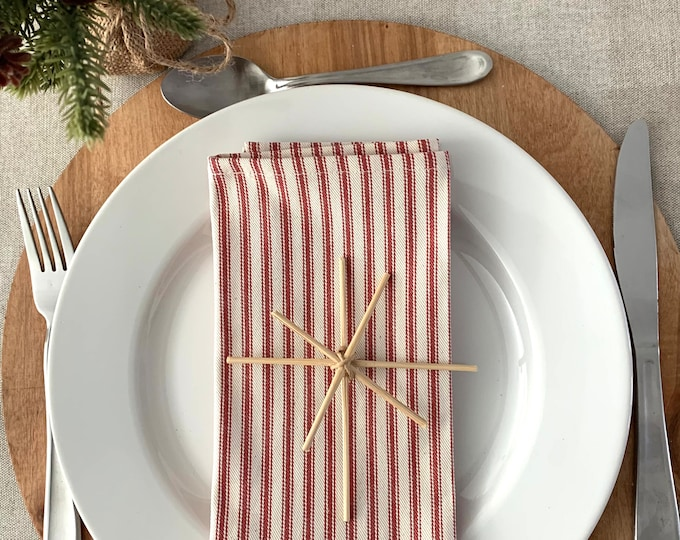 "Red Stripes  Christmas cotton napkins| Simply elegant| Table decor| 17""x17"" 