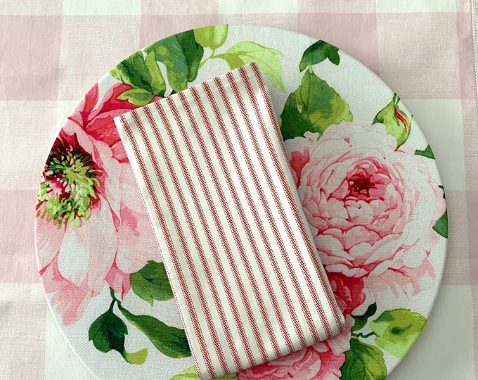 """Featured listing image: Classic White and Pink stripes Napkins