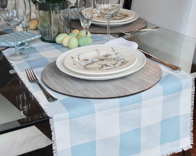 Blue and white plaid table runner with fringes|Soft and delicate|plaid|Spring|Easter|Farmhouse|Country|Wedding|Custom orders available