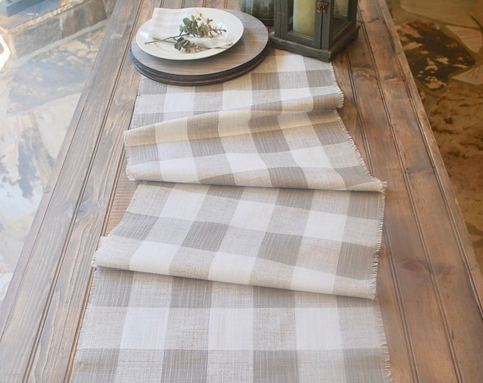 Plaid Taupe and white linen table runner | Fringes|Buffalo|Farmhouse|Country|Elegant|Rehearsal Dinner Table Setting|Custom orders available