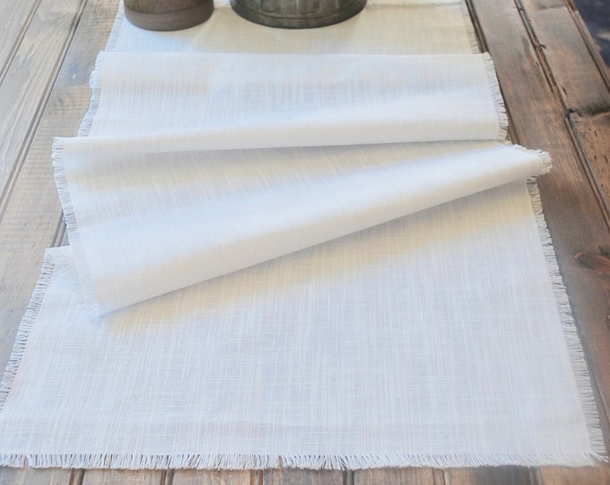 Classic White Linen Table Runner|Tabletop|Farm Table|Rehearsal Dinner Table Setting |Summer|Spring|Gift|Farmhouse| Patio table|Custom Orders