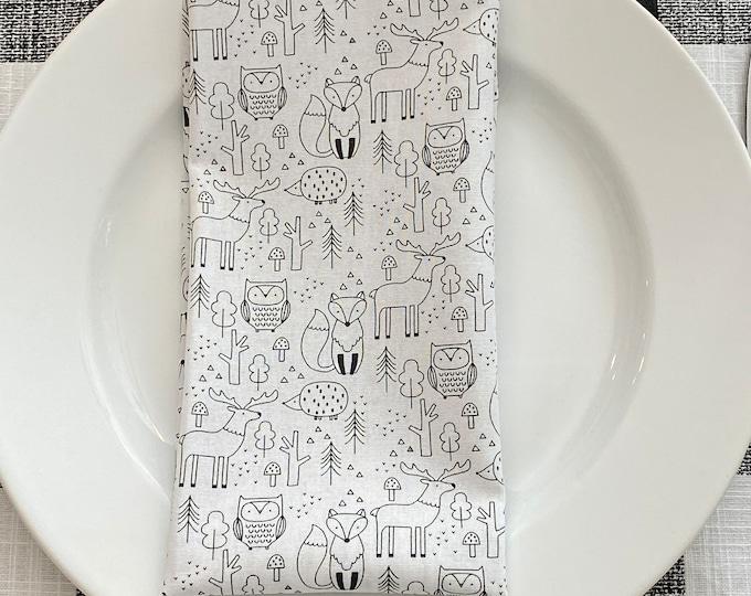 Winter animals print Napkins|Set of two|Christmas napkins |White and Black| Christmas decor| Christmas Dinner