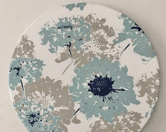 """Light Blue floral Charger Plate Cover 13""""diameter Farmhosue  coastal   Table decor Spring  Summer Set of two Patio table Mother's Day """