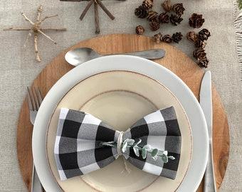 "Buffalo check black and white polyester napkins 17""x17""  Christmas  Matching Napkins   Set of 4  use them year round  farm table   Farmhouse"