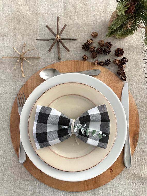 "Buffalo check black and white polyester napkins|17""x17""| Christmas |Matching Napkins | Set of 4| use them year round| farm table | Farmhouse"