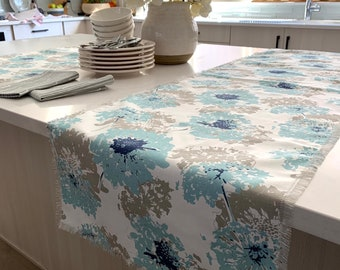 Soft Blue and Gray floral print table runner  Easter  Spring Farm table Patio table Across the table  Coffee table  Consoles  Outdoor table